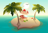 Tropical island in sea. Palm trees, sand, sun lounger and parasol