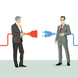 Businessmen connect cooperation
