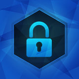 padlock sign in hexagon over dark blue background, flat design