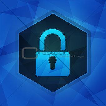 padlock sign in hexagon over dark blue background, flat design