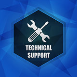 technical support with tools sign over dark blue background, fla