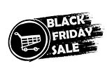 black friday with shopping cart, drawn banner