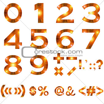 Mathematical Numbers and Signs Set