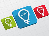 idea in light bulbs signs in flat blocks