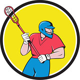 Lacrosse Player Crosse Stick Running Circle Cartoon
