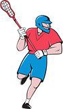 Lacrosse Player Crosse Stick Running Isolated Cartoon