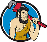 Neanderthal CaveMan Plumber Monkey Wrench Circle Cartoon