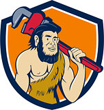 Neanderthal CaveMan Plumber Monkey Wrench Shield Cartoon