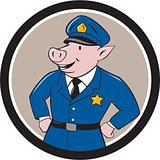 Policeman Pig Sheriff Circle Cartoon