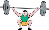 Weightlifter Deadlift Lifting Weights Cartoon