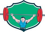 Weightlifter Deadlift Lifting Weights Shield Cartoon