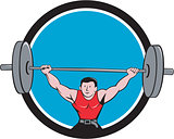 Weightlifter Deadlift Lifting Weights Circle Cartoon