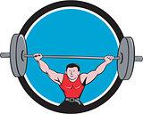 Weightlifter Deadlift Lifting Weights Circle Cartoon