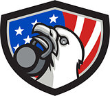Bald Eagle Lifting Kettleball USA Flag Shield Retro