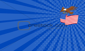 Business card American Bald Eagle Carrying USA Flag Cartoon
