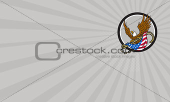 Business card American Eagle Clutching Towing J Hook Flag Circle Retro