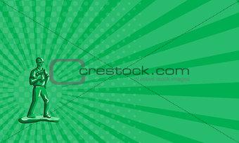 Business card Green Construction Worker Nailgun Retro