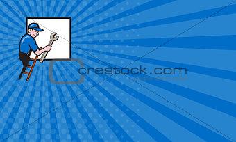 Business card Handyman Climbing Ladder Window Cartoon