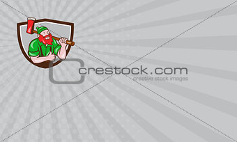 Business card Paul Bunyan Lumberjack Axe Thumbs Up Crest Cartoon