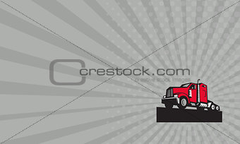 Business card Semi Truck Tractor Low Angle Retro