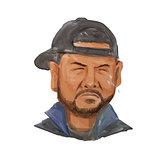 African-American Man Beard Hat Crying Watercolor