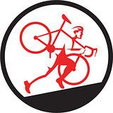 Cyclocross Athlete Running Uphill Circle