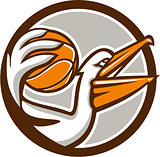 Pelican Dunking Basketball Circle Retro