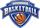 Basketball Ball Shield Text Retro