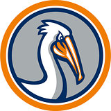 Pelican Head Circle Retro