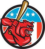 Bulldog Baseball Batting USA Circle Cartoon