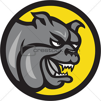 Angry Bulldog Head Circle Cartoon