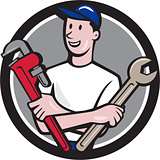 Handyman Spanner Monkey Wrench Circle Cartoon