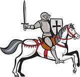 Knight Steed Wielding Sword Cartoon