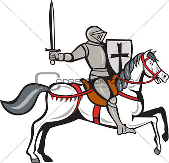 Knight Steed Wielding Sword Cartoon