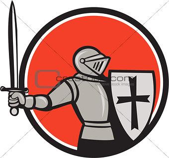 Knight Wielding Sword Circle Cartoon