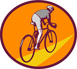 Cyclist Riding Bicycle Cycling Oval Woodcut