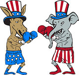Democrat Donkey Boxer and Republican Elephant Mascot Cartoon