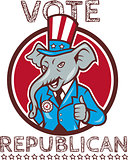 Vote Republican Elephant Mascot Thumbs Up Circle Cartoon