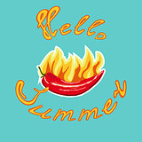 Chili pepper sticker and lettering hello summer.