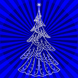 Christmas Fir Tree with Star and Rays