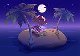 Summer rest. Romantic night on tropical island under palm trees