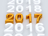 Golden 2017 year sign. Soft focus