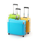 Colorful set of  travel bags suitcase