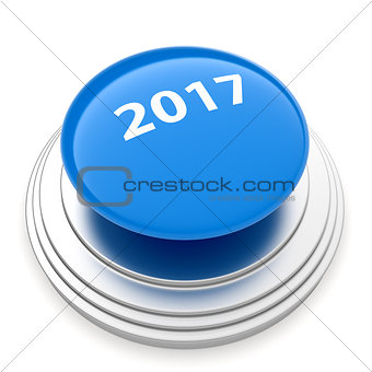 2017 New Year blue button isolated
