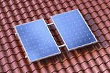 Solar panels on the brown roof conceptual illustration