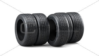 Car tyres stack isolated on white background