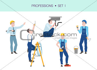 Group of workers vector set