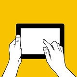 Hands with tablet pc - finger touchs screnn