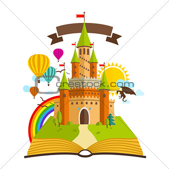 Fairy Tale castle. Vector Illustration with Book, Green Trees, dragon, sun, clouds, Baloons and Rainbow