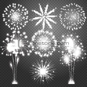 Firework bursting in various shapes sparkling pictograms set. Abstract vector isolated illustration